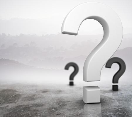 Vragen op abstracte mistige grijze achtergrond. Aanvraag concept. 3D-rendering Stockfoto