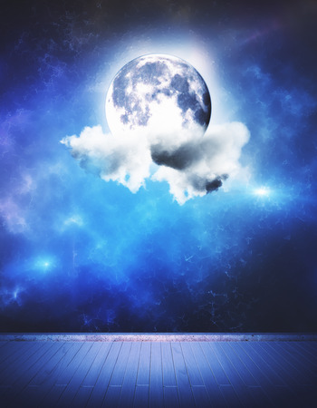 Abstract stage with globe and cloud Stock Photo - 82654150