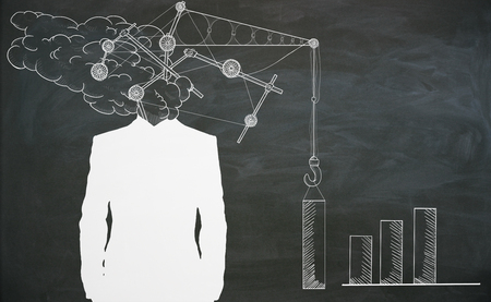 Abstract drawn crane headed businessman silhouette on blackboard background. Imagination and engineering concept Фото со стока - 82629924