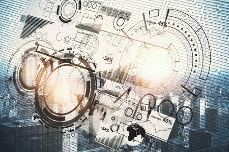 Digitaal bedrijfshologram op heldere stadsachtergrond. Technologie, infograph en netwerkconcept. Dubbele blootstelling