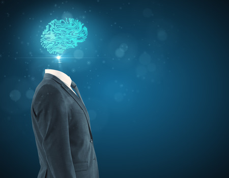 Side view of digital brain headed businessman on blue background. Artificial intelligence concept