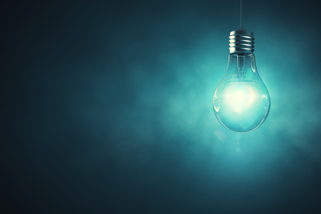 Lamp on abstract misty background with copy space. Imagination concept. 3D Rendering 版權商用圖片