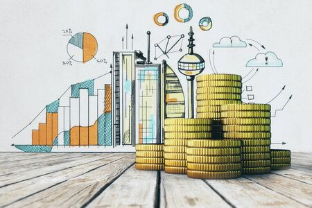 Stakcs of golden coins placed on wooden surface. Concrete wall with business sketch in the background. Income and wealth concept. 3D Rendering