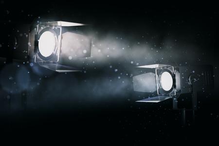 Two soft spotlights on dark smoky wallpaper. Professional lighting equipment concept. 3D Rendering