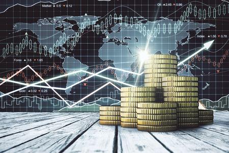 Stapels gouden munten geplaatst op een houten bureaublad. Forex grafiek achtergrond. Handel concept. 3D-weergave Stockfoto