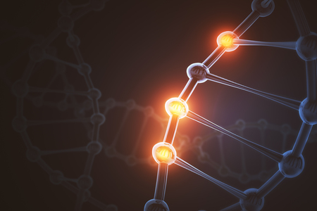 Glowing tech DNA wallpaper. Medicine concept. 3D Rendering