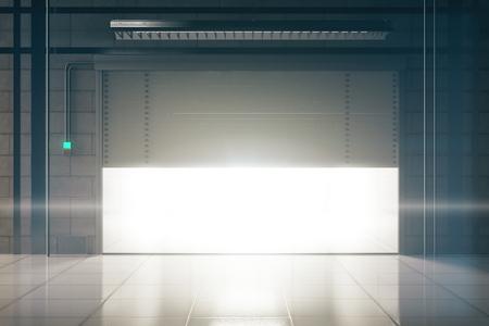 empty warehouse: Bright tile interior with illuminated opening garage door. Mock up, 3D Rendering