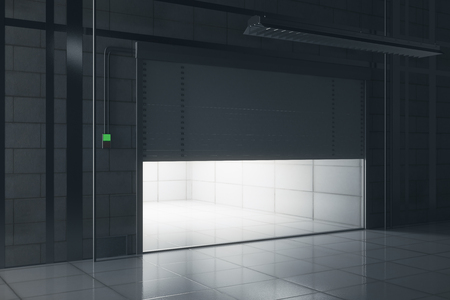 Side view of grunge tile interior with illuminated opening garage door. Mock up, 3D Rendering