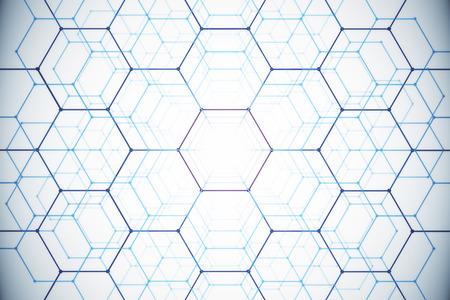 추상 흰색 벌집 배경입니다. 기술 개념입니다. 3D 렌더링
