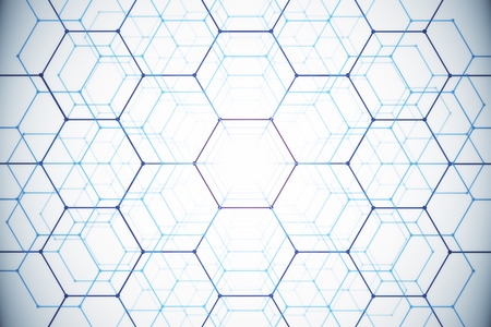 Abstract white honeycomb backdrop. Technology concept. 3D Rendering Banco de Imagens
