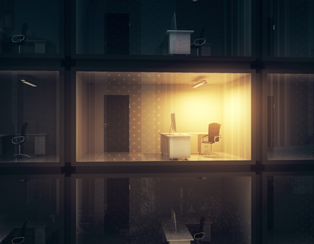 Abstract small illuminated container office at night. Work concept. 3D Rendering