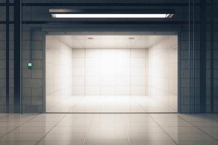 グランジ タイル インテリア照明のオープン ガレージのドア。モックアップ、3 D レンダリング