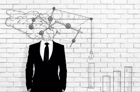 Abstract drawn crane headed businessman on white brick wall background. Real estate concept