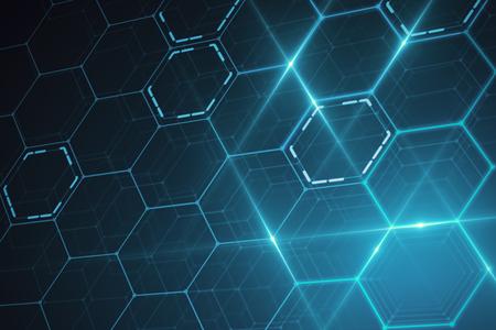 Abstract glowing blue hexagonal texture. Technology concept. 3D Rendering