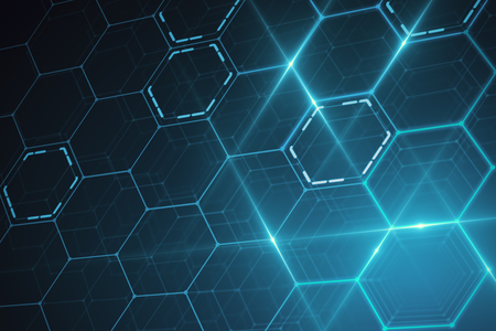 Abstract glowing blue hexagonal texture. Technology concept. 3D Rendering
