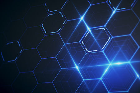 Abstract glowing blue hexagonal wallpaper. Technology concept. 3D Rendering