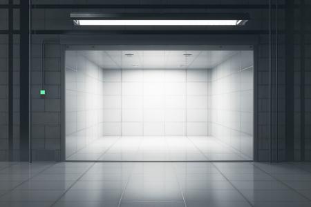 Clean tile interior with illuminated opened garage door. Mock up, 3D Rendering
