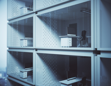 Abstract small container offices in daylight. Contemporary concept. 3D Rendering
