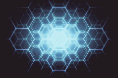 Abstracte gloeiende blauwe zeshoekige achtergrond. Technologie concept. 3D-weergave Stockfoto