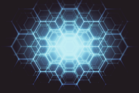 Abstract glowing blue hexagonal  background. Technology concept. 3D Rendering Archivio Fotografico