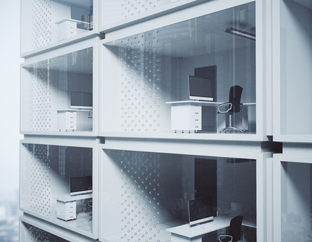 Abstract small container offices in daylight. Modern concept. 3D Rendering