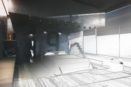 未完成の寝室インテリアの青写真。工学概念。3 D レンダリング