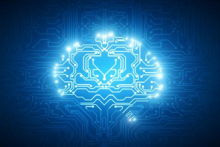 抽象的な光る回路脳背景。人工心の概念。3 D レンダリング