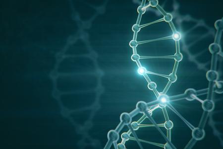 Glowing digital DNA backdrop. Medicine concept. 3D Rendering