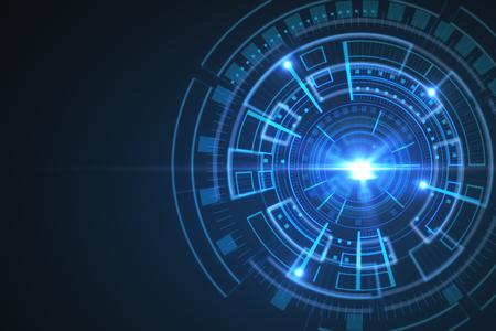 Abstracte blauwe digitale knoopachtergrond. Technologie en innovatieconcept. 3D-weergave Stockfoto