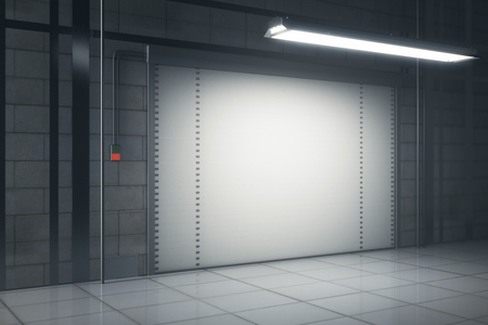 Side view of grunge tile interior with illuminated closed garage door. Mock up, 3D Rendering
