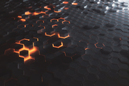 Futuristic glowing amber hexagonal or honeycomb wallpaper. Technology, future and innovation concept. 3D Rendering Zdjęcie Seryjne - 83975023