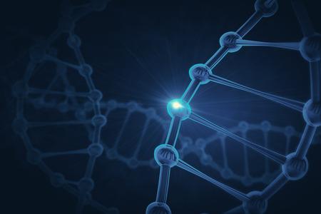 Glowing tech DNA backdrop. Medicine concept. 3D Rendering