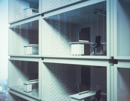 Abstract small container offices in daylight. Development concept. 3D Rendering