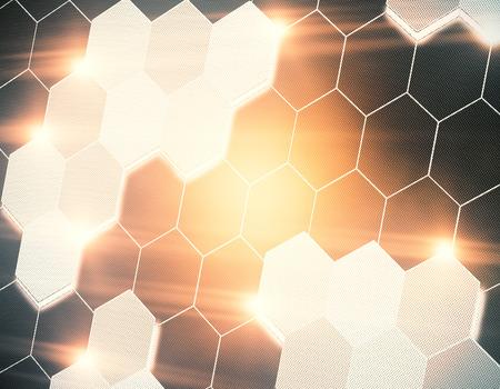 Abstract hexagonaal honingraatbehang. Technologie en innovatieconcept. 3D-weergave Stockfoto