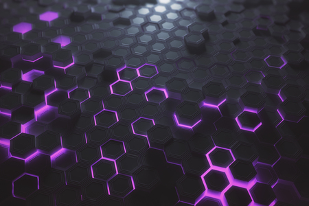 未来輝く紫色または六角形ハニカムの背景。技術、将来、技術革新の概念。3 D レンダリング