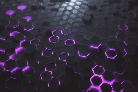 Futuristische gloeiende paarse zeshoekige of honingraat achtergrond. Technologie, toekomst en innovatieconcept. 3D-weergave