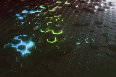 Futuristic glowing colorful bright hexagonal or honeycomb backdrop. Technology, future and innovation concept. 3D Rendering Stok Fotoğraf