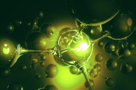 De abstracte groene verbonden achtergrond van de bellenmolecule van het glas. Abstractie, creativiteitconcept. 3D-weergave