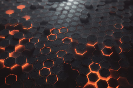Futuristic glowing amber hexagonal or honeycomb backdrop. Technology, future and innovation concept. 3D Rendering