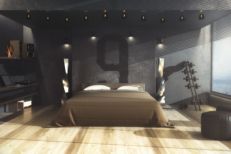 Creative Male Grungy Gangster Bedroom Interior With Furniture And Daylight. Home  Concept. 3D Rendering