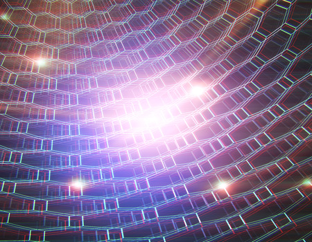 Abstract glowing hexagonal net background. Technology and innovation concept. 3D Rendering