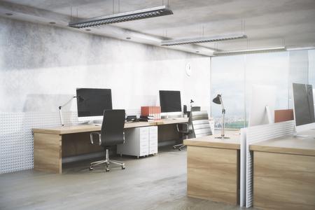 職場、機器、シティー ビューと日光の下で明るいオフィス ルームのインテリア。不動産、ワークスペース、ビジネス コンセプト。3 D レンダリング 写真素材