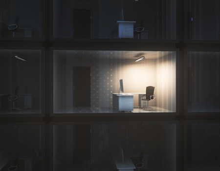Abstract small illuminated container office at night. Employment concept. 3D Rendering