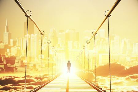 明るい都市を見て橋の途中で思いやりのある青年実業家の背面します。機会概念。3 D レンダリング