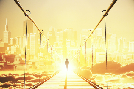 Back view of thoughtful young businessman in the middle of bridge looking at bright city. Opportunity concept. 3D Rendering