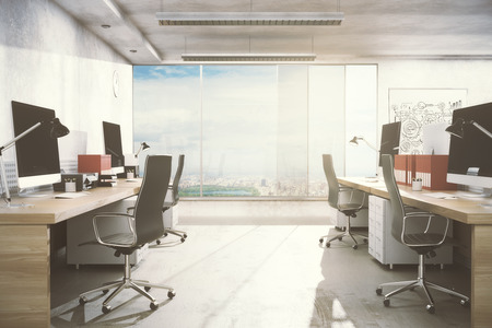 white wood floor: New office room interior with workplace, equipment, city view and daylight. Real estate, workspace, business concept. 3D Rendering