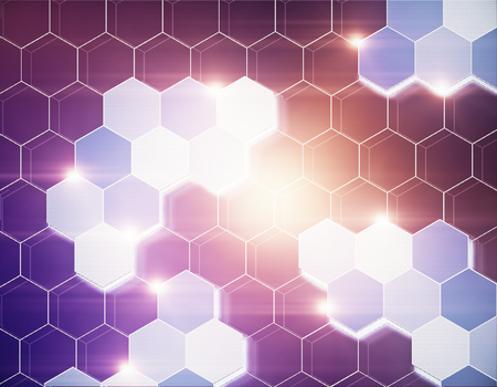 Abstract hexagonal honeycomb texture. Technology and innovation concept. 3D Rendering