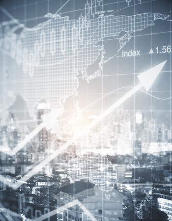 Grafico forex astratto sullo sfondo della città. Concetto commerciale. Immagine tonica. Doppia esposizione Archivio Fotografico - 84039076