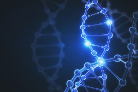 Glowing digital DNA background. Medicine concept. 3D Rendering