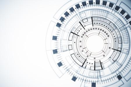 Abstracte witte digitale knoopachtergrond. Technologie, touchscreen en innovatieconcept. 3D-weergave Stockfoto